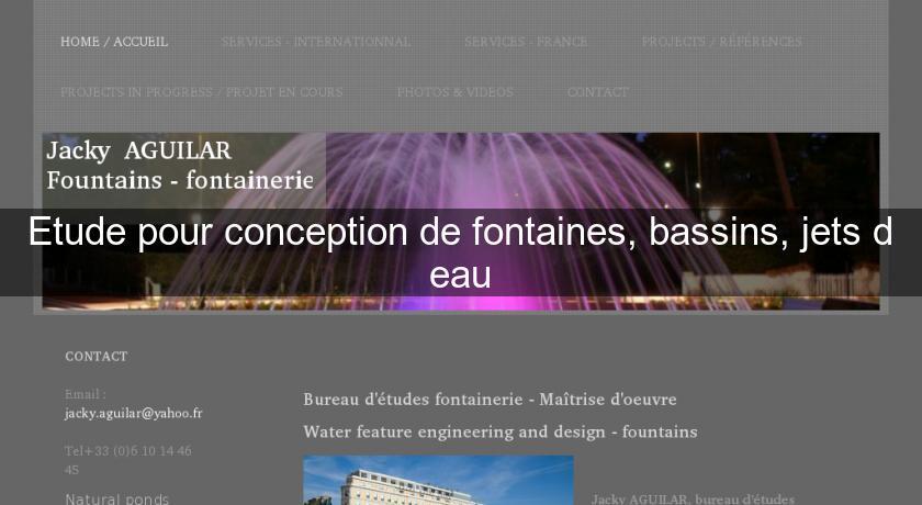 Etude Pour Conception De Fontaines Bassins Jets Deau Fontaine De
