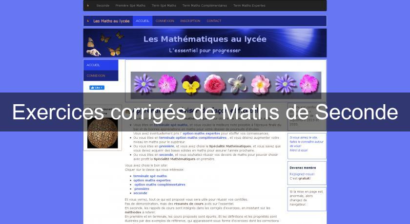 Exercices corrigés de Maths de Seconde