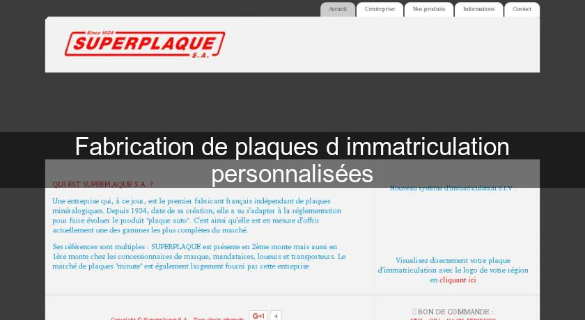 Fabrication de plaques d 39 immatriculation personnalis es - Immatriculation chambre de commerce ...