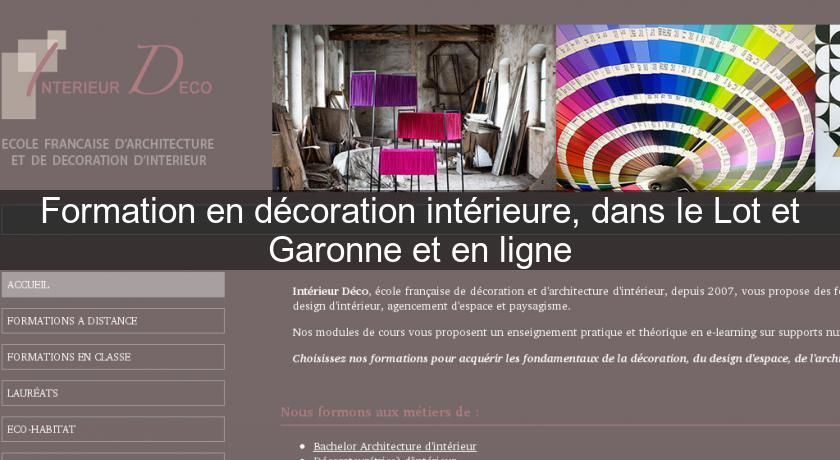 Formation en d coration int rieure dans le lot et garonne for Decoration interieur formation