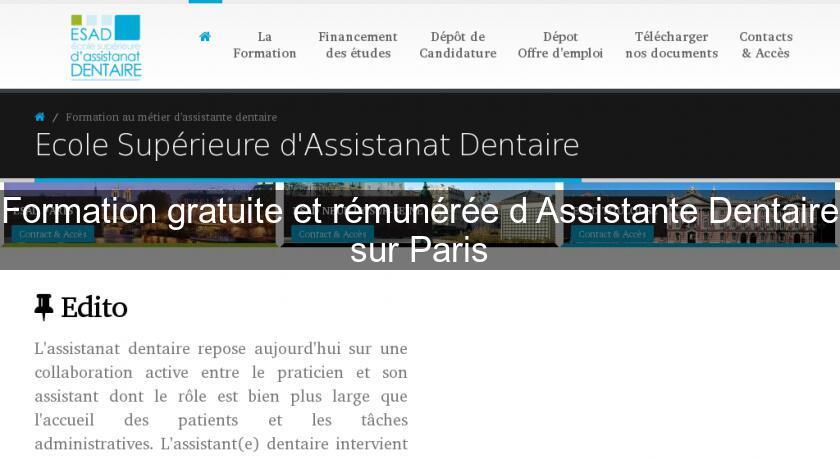formation gratuite et r u00e9mun u00e9r u00e9e d u0026 39 assistante dentaire sur