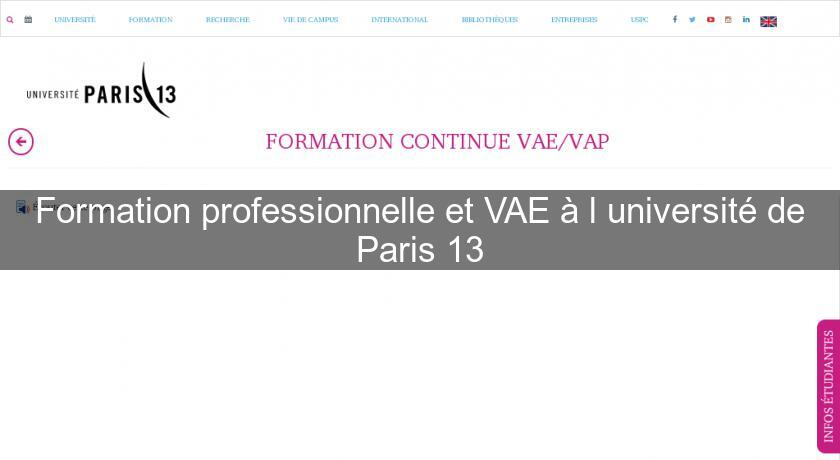 Formation professionnelle et VAE à l'université de Paris 13