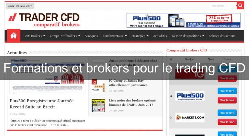 Formations et brokers pour le trading CFD