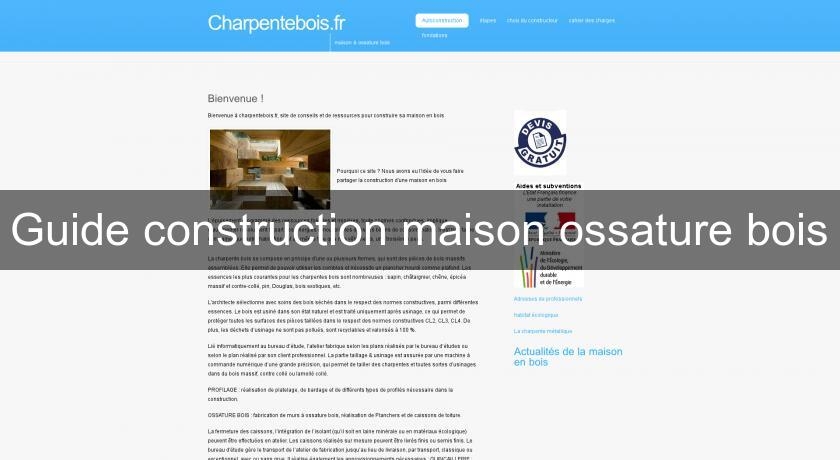 Guide construction maison ossature bois