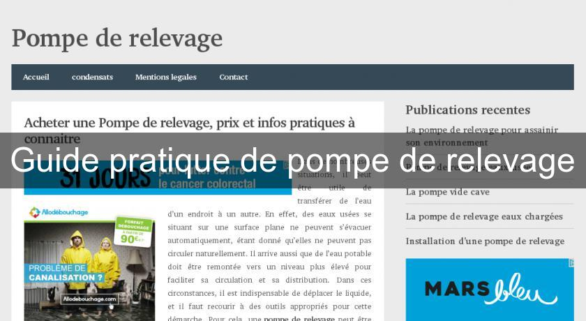 Guide pratique de pompe de relevage