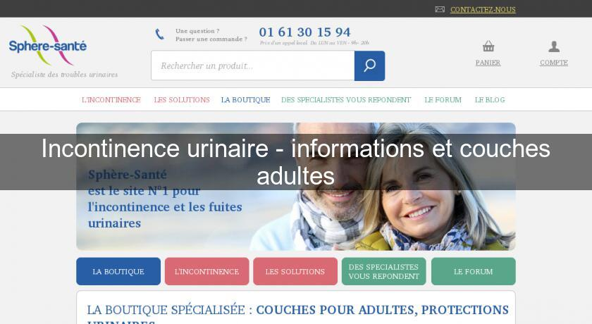 Incontinence urinaire - informations et couches adultes