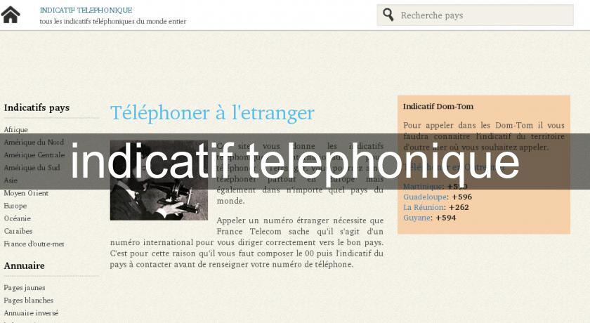 indicatif telephonique