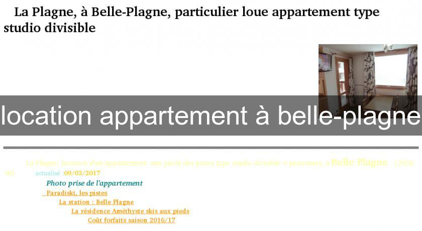 location appartement à belle-plagne
