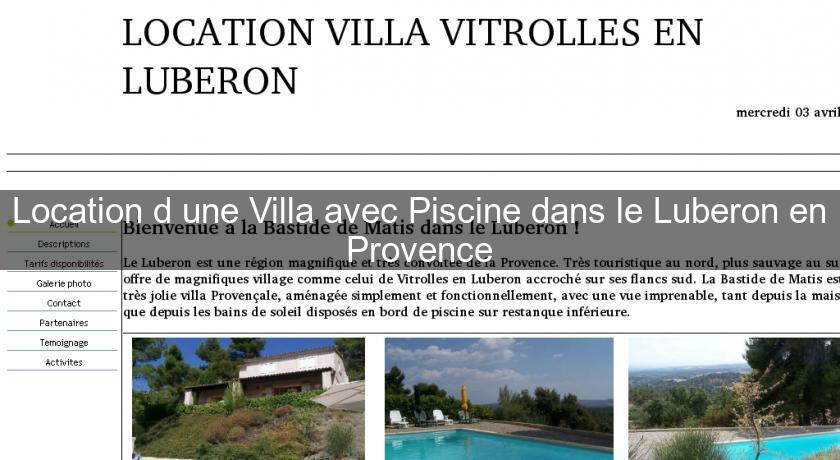 Location d 39 une villa avec piscine dans le luberon en - Location maison avec piscine luberon ...