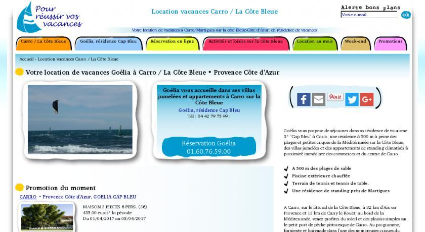Location de vacances en bord de mer à Carro près de