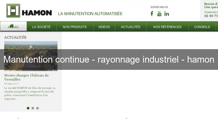 Manutention continue - rayonnage industriel - hamon