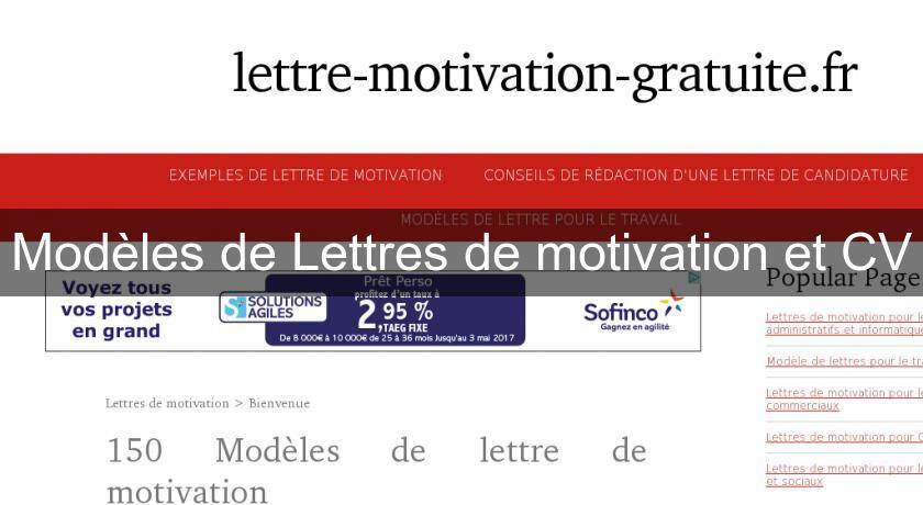 mod u00e8les de lettres de motivation et cv emploi et formation