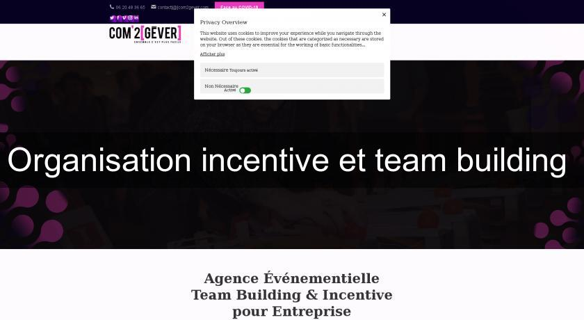 Organisation incentive et team building