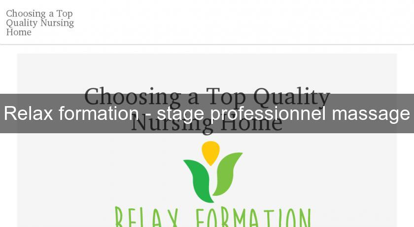 Relax formation - stage professionnel massage