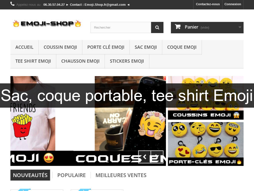 Sac, coque portable, tee shirt Emoji