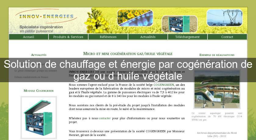 huile vegetale energie renouvelable