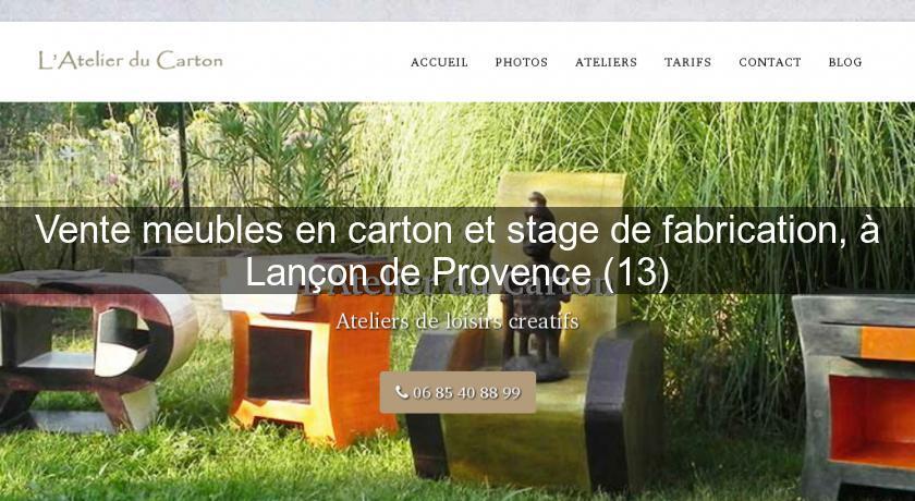 Vente meubles en carton et stage de fabrication lan on for Vente ameublement