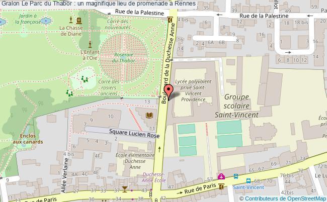 plan Le Parc Du Thabor : Un Magnifique Lieu De Promenade à Rennes