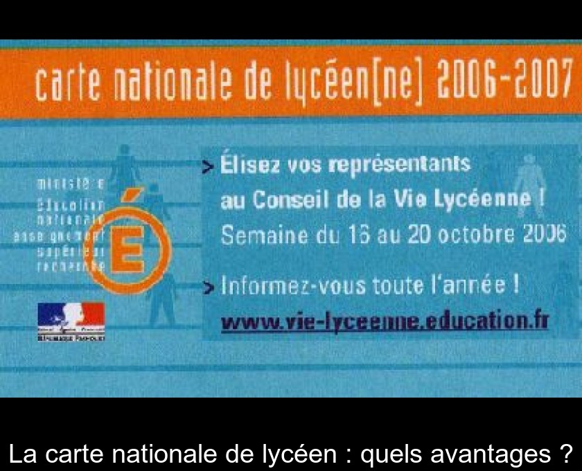 La carte nationale de lycéen : quels avantages ?