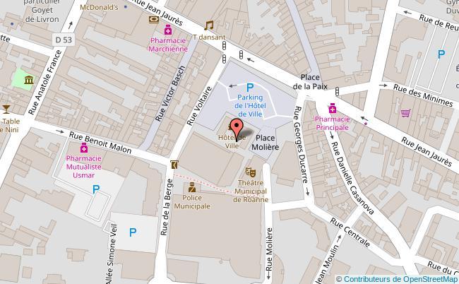 plan Hôtel de ville de Roanne