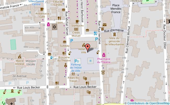 plan Hôtel de ville de Villeurbanne