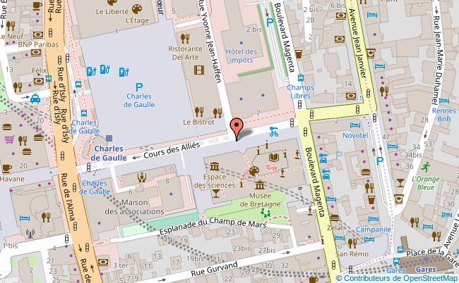plan Le Café des Champs libres Rennes