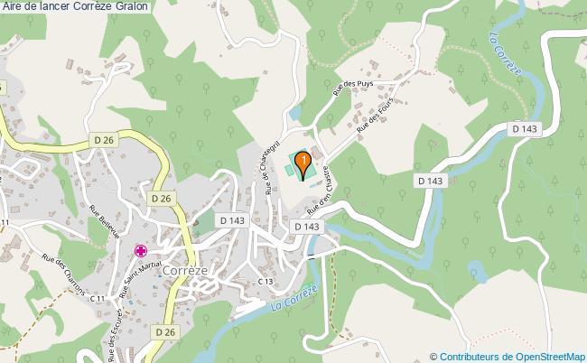 plan Aire de lancer Corrèze : 1 équipements