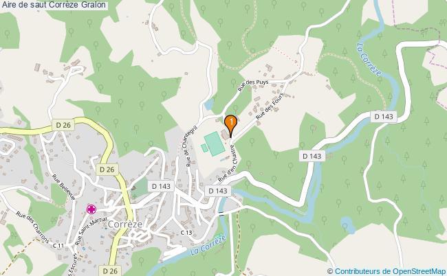 plan Aire de saut Corrèze : 1 équipements