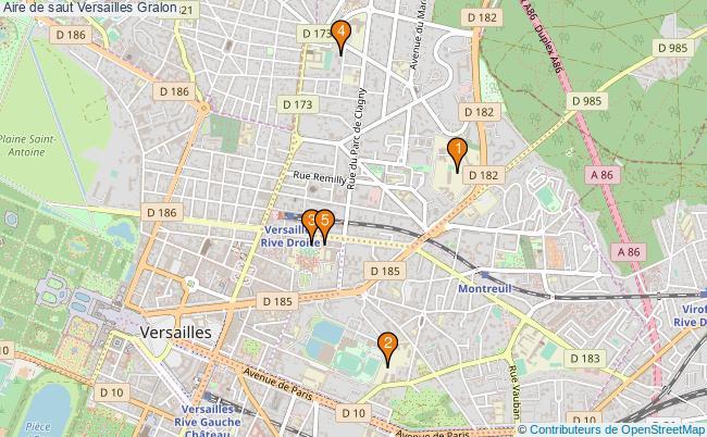 plan Aire de saut Versailles : 5 équipements