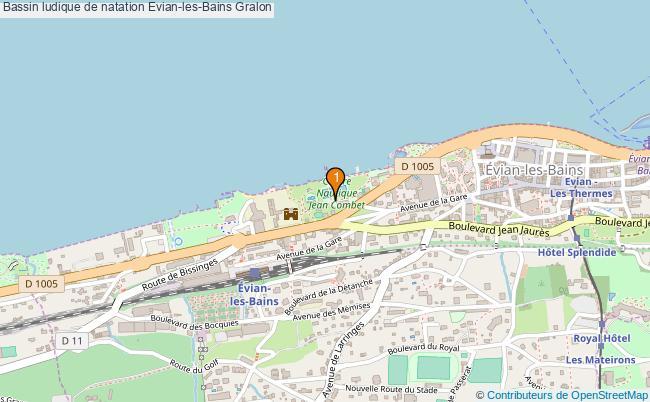 plan Bassin ludique de natation Evian-les-Bains : 1 équipements
