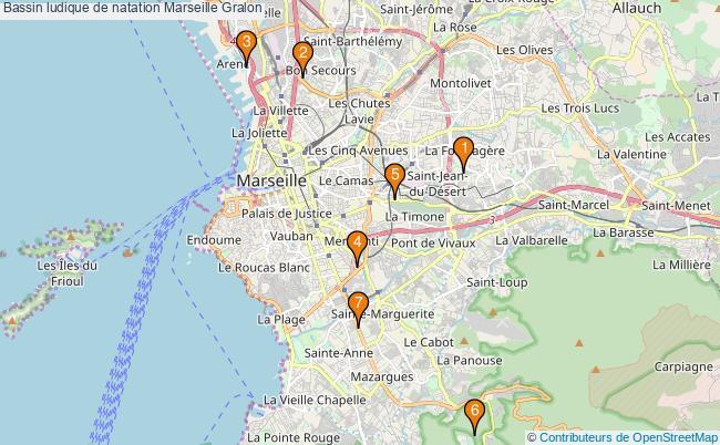 plan Bassin ludique de natation Marseille : 7 équipements