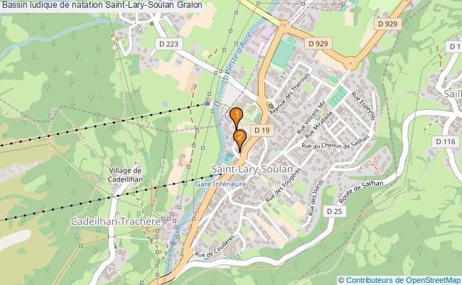plan Bassin ludique de natation Saint-Lary-Soulan : 2 équipements