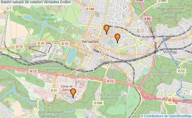 plan Bassin ludique de natation Versailles : 3 équipements