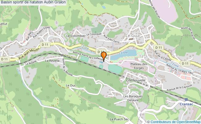 plan Bassin sportif de natation Aubin : 1 équipements