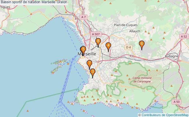 plan Bassin sportif de natation Marseille : 8 équipements