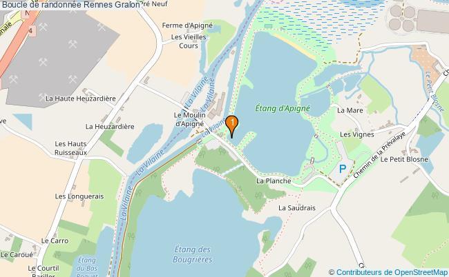 plan Boucle de randonnée Rennes : 1 équipements