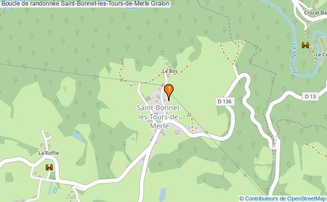 plan Boucle de randonnée Saint-Bonnet-les-Tours-de-Merle : 1 équipements