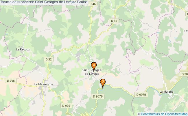 plan Boucle de randonnée Saint-Georges-de-Lévéjac : 4 équipements