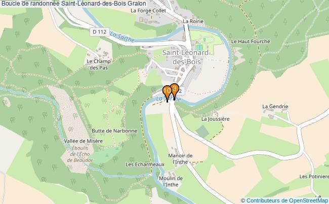 plan Boucle de randonnée Saint-Léonard-des-Bois : 10 équipements