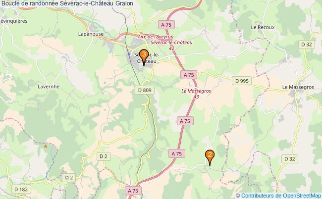 plan Boucle de randonnée Sévérac-le-Château : 3 équipements