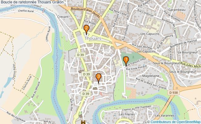 plan Boucle de randonnée Thouars : 3 équipements
