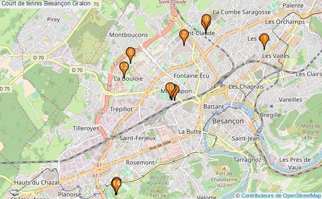 plan Court de tennis Besançon : 14 équipements