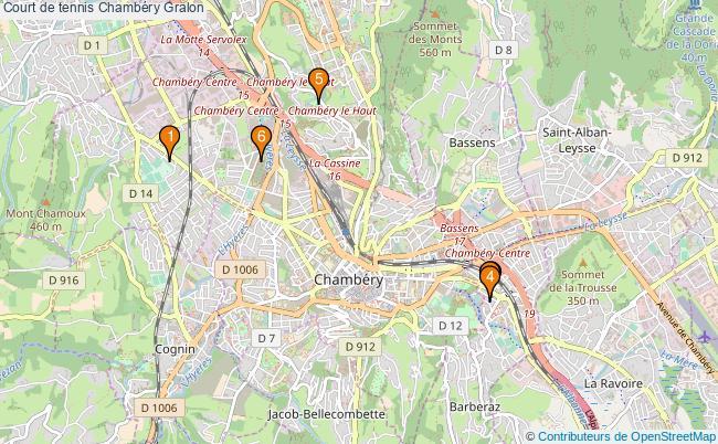 plan Court de tennis Chambéry : 6 équipements