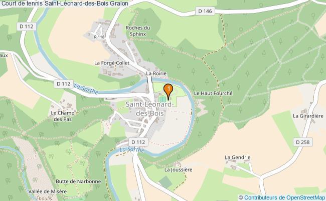 plan Court de tennis Saint-Léonard-des-Bois : 1 équipements