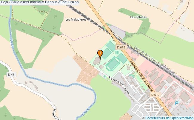 plan Dojo / Salle d'arts martiaux Bar-sur-Aube : 1 équipements