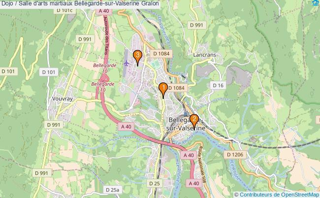 plan Dojo / Salle d'arts martiaux Bellegarde-sur-Valserine : 3 équipements