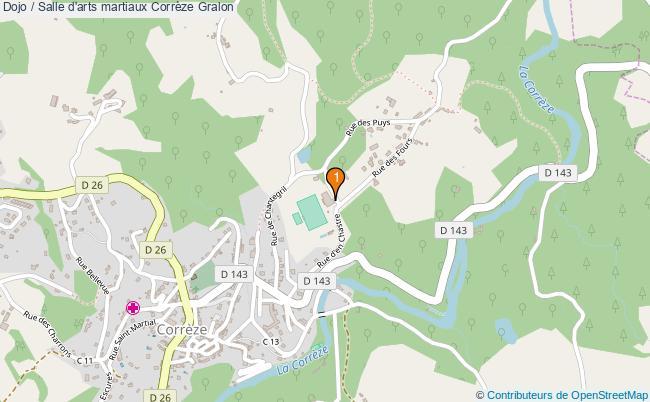 plan Dojo / Salle d'arts martiaux Corrèze : 1 équipements