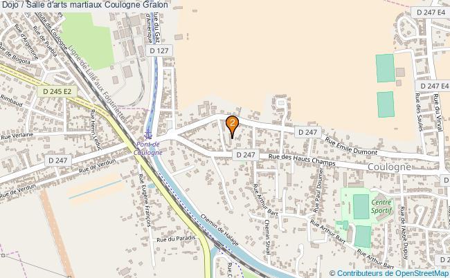 plan Dojo / Salle d'arts martiaux Coulogne : 2 équipements