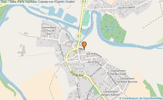 plan Dojo / Salle d'arts martiaux Cussey-sur-l'Ognon : 1 équipements