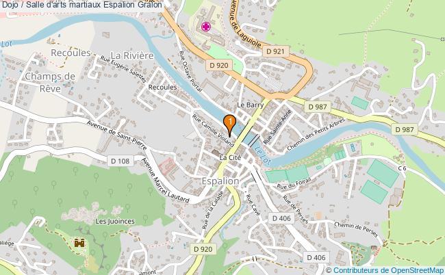 plan Dojo / Salle d'arts martiaux Espalion : 1 équipements
